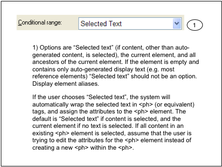 Control for selecting conditional text range in XMetaL