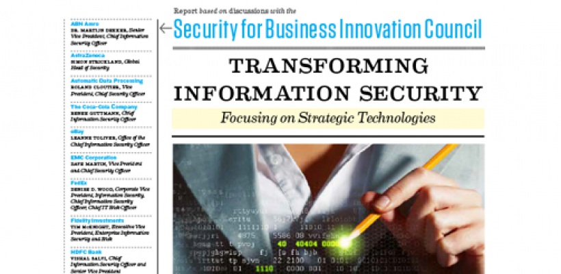 Cover of the SBIC report on Transforming Information Security